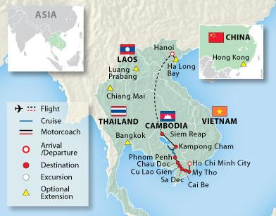 Hanoi Siem Reap Saigon map